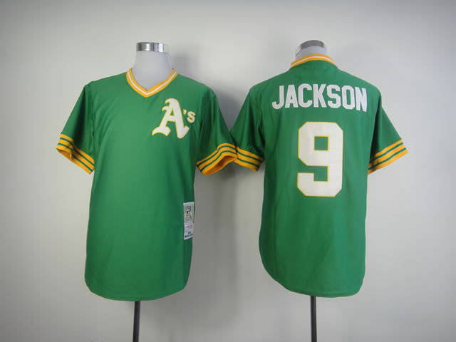 Number 9 Reggie Jackson Jerseys Oakland Athletics green t shirts for sale  USA