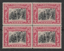 1929 2c George Rogers Clark Block of 4 US Postage Stamps Catalog Number 651 MNH