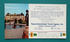 TEXAS Int'l Travel Agency AD + View Stockholm Sweden - 1960s INK BLOTTER - $4.94