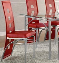 2 Dining Chairs Red Leather Like Vinyl Modern Set Metal Legs Kitchen Room Matte - $138.99