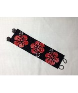 Bracelet Cuff Style Handmade Bead Woven Hibiscus Coral Flowers on Matte ... - $40.00