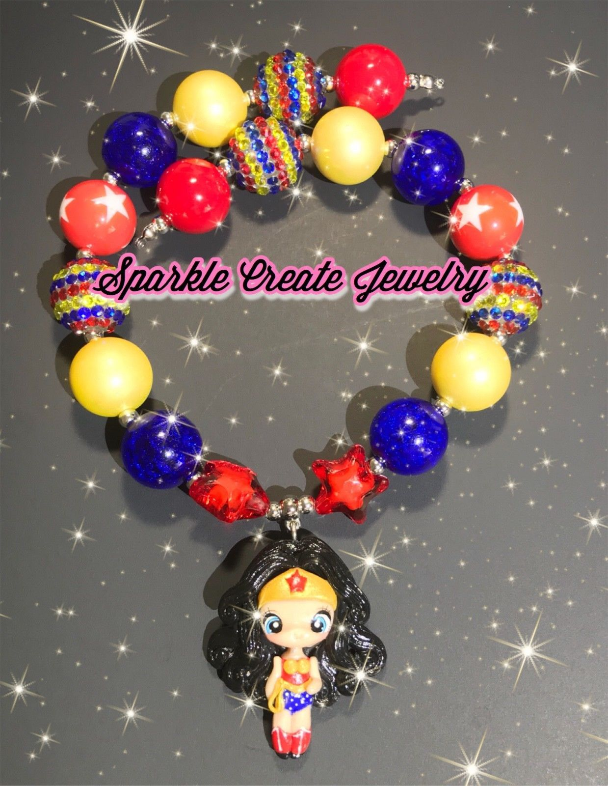 Wonder Woman and Harley Quinn Clay Chunky Bubblegum Necklace