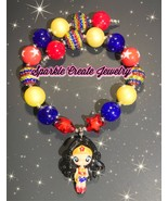 Wonder Woman and Harley Quinn Clay Chunky Bubblegum Necklace - $19.00+