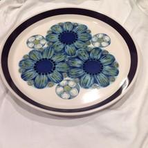 Mikasa StudioKraft Gavin Mid Century Serving Plate Platter Blue 1970s Ja... - $58.41