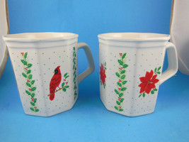 Russ Berrie Mugs  One with Cardinal one with Poinsettia set of 2 Vintage PRETTY - $13.85