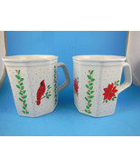 Russ Berrie Mugs  One with Cardinal one with Poinsettia set of 2 Vintage... - $13.85