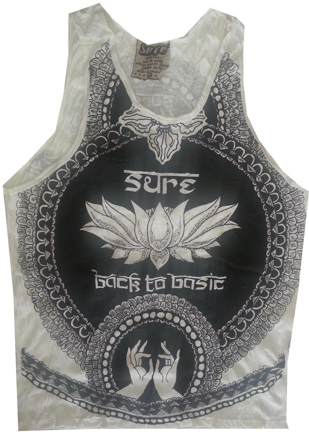 Yoga Men Tank Top sleeveless Rasta Marijuana Weed Reggae Hobo Boho M-L RARE Sure