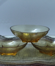 Vintage Set of Three Clear Amber Cereal, Nut, Candy, Serving Bowls - $15.50
