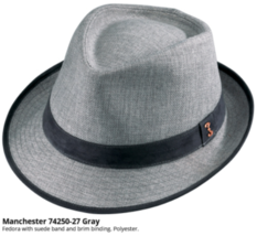 Who Ced Manchester Polyester Fedora Suede Band And Brim Edge Wheat Gray - $48.00
