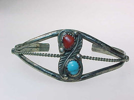 CUFF BRACELET Turquoise and Coral in Sterling Silver - 11.4 grams - Vintage - $45.00