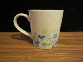 2006 Starbucks White Blue interior & floral flower mug w/green butterfli... - $19.99