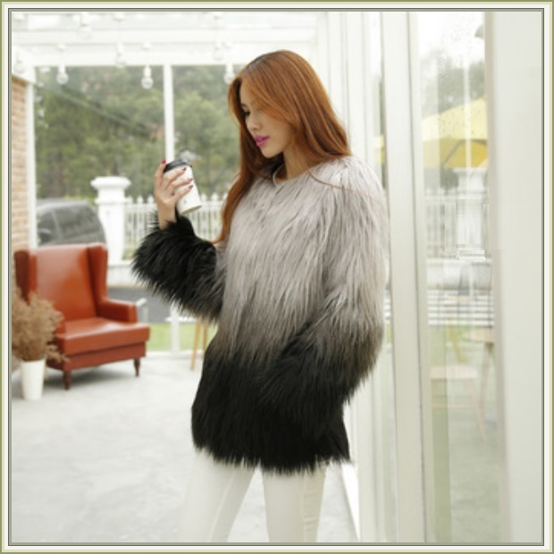 Gradient Gray / Black Imitation Long Hair Shaggy Fur O Neckline Faux Fur Coat