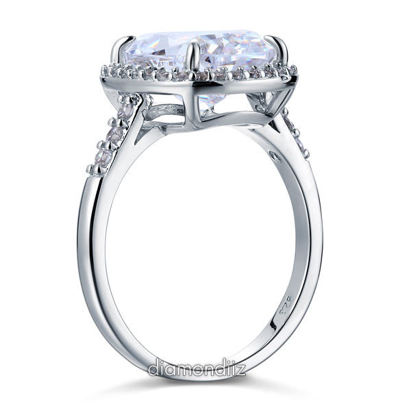 925 Sterling Silver Wedding Anniversary Halo Ring 6 Ct Lab Created Diamond