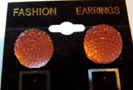 Sparkly Pink Rhinestone Ball (Gold Plated)  Post Earrings - $12.00