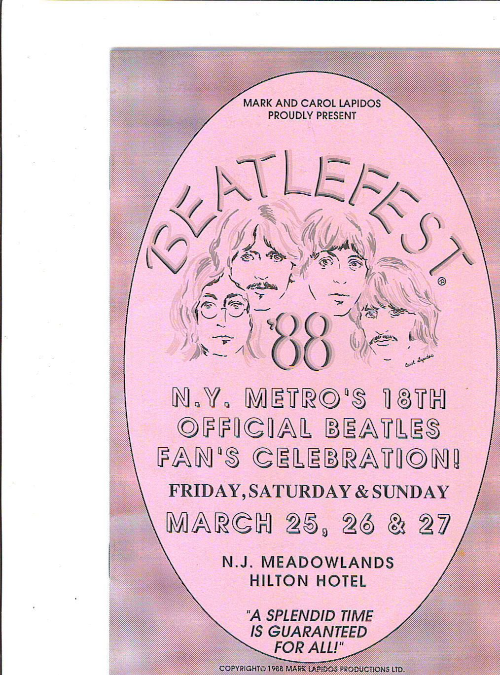 Primary image for BEATLEFEST 88 Original NY NJ Meadowlands 1988 Program The BEATLES
