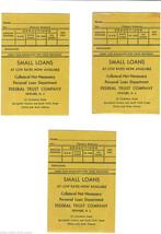 Lot of 3 Unused FEDERAL TRUST COMPANY Newark NJ Bank Envelopes 1950s-1960s? - $10.99