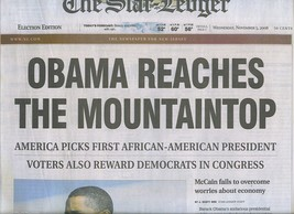 Barack OBAMA REACHES THE MOUNTAINTOP  2008 Historic Election Newspaper N... - $10.99