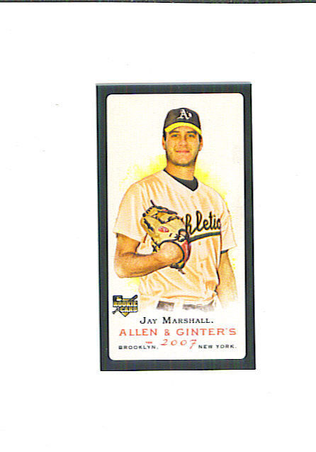 Jay MARSHALL 2007 Topps Allen & Ginter MINI BLACK Parallel Card Oakland A's As