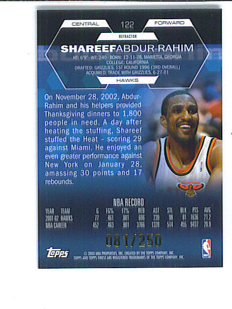 Shareef ABDUR RAHIM 2002-03 Finest SHORT PRINT GAME WORN JERSEY REFRACTOR 81/250