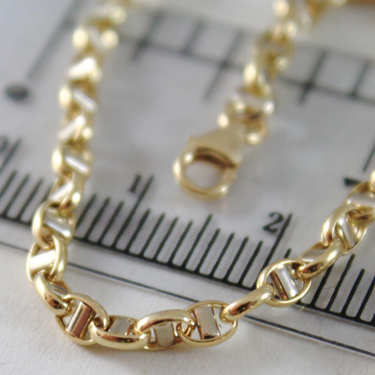 Bracelet or Jaune ou Blanc 750 - 18K, 19 cm, 3 mm,Bateau Traverse,Italie image 5