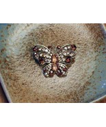 Cookie Lee Autumn Butterfly Brooch - Item #25174 - Genuine Crystal, New! - $15.00