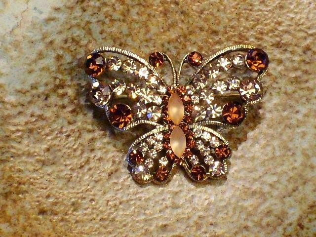 Cookie Lee Autumn Butterfly Brooch - Item #25174 - Genuine Crystal, New! image 2