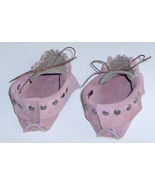 American Made! Pink & Brown Leather Baby Moccasins,First infant Moccasin... - $33.95