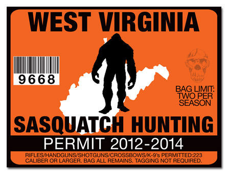 Sasquatch hunting permit license decal sticker chevy dodge for West virginia out of state fishing license