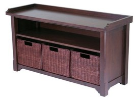 Winsome Wood MilanWood Storage Bench in Antique Walnut Finish with Stora... - £113.84 GBP