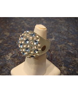 Luna Bianca Bubble Acrylic Ring by Pinky Swarovski Crystals Hand Made Si... - $24.98