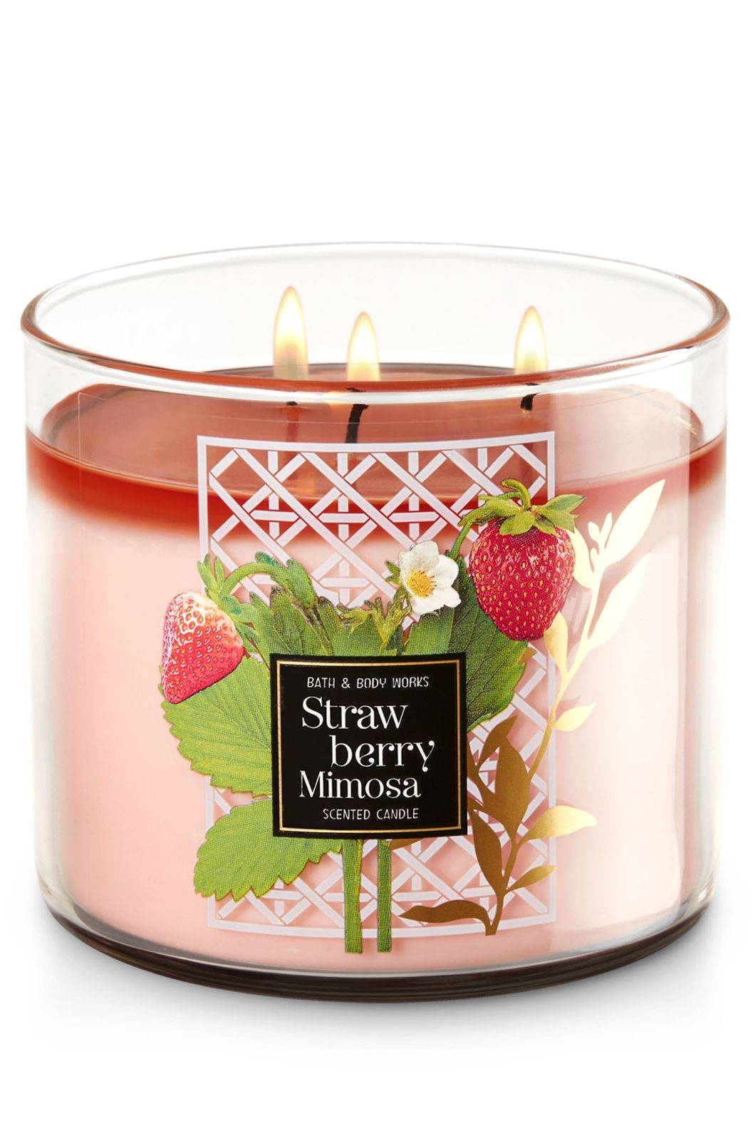 2x  Bath & Body Works Strawberry Mimosa 3 Wick Scented Candle with Lid 14.5 oz  image 2