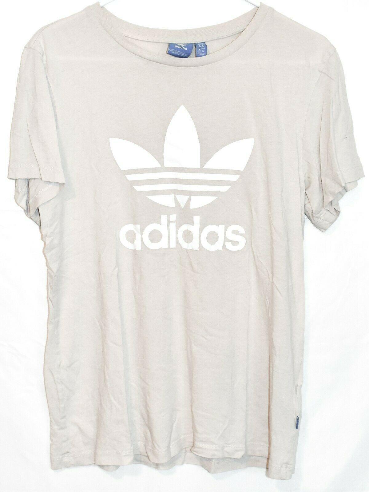 adidas Originals Women's Boyfriend Cream Off-White Trefoil T-Shirt Size S