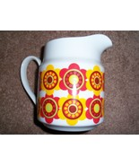 RETRO 1960s 1970s RED YELLOW FLOWER POWER SMALL MILK WATER PITCHER - $13.99