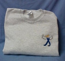 Colon Cancer Awareness Blue Ribbon Angel Gray Crew Neck Sweatshirt Unisex S New - $21.31