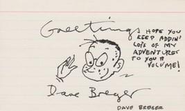 Dave Breger (d. 1970) Signed Autographed 3x5 Index Card Original Artwork - $49.99