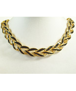NAPIER Gold Plated BLACK Enamel CURB Link Chain Choker Necklace Extensio... - $24.74