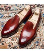 Handmade Men burgundy leather loafers, Men slipons,Men's loafers shoes,M... - $144.99+