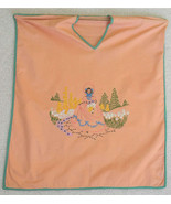 Vintage Clothes Pin Bag Hand Embroidered Peach Cotton - $8.99