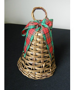 Avon Mistle Toe Holiday Wicker Bell IOB Plaid Bow - $3.99