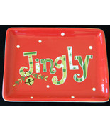 Red Christmas Candy Cookie Serving Tray Cracker Barrel Jingle Bell - $0.99