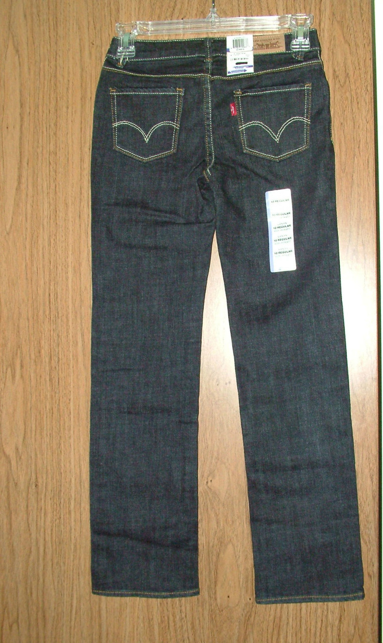Levi's Girl's Slim Straight, Adjustable Waist Jeans, Size 8 Regular, NWT
