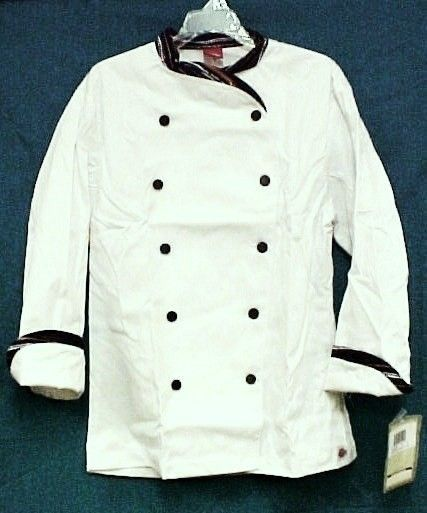 Dickies Executive Chef Coat White Stripe Trim CW070303PAS Size 36 Disc Style New