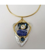 Chunky Pendant Crystal Blue Semi Precious Stone Silver Gold Handmade Nec... - $375.00