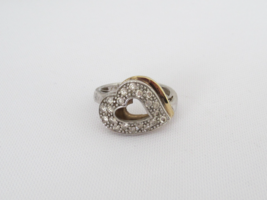 Vintage Sterling Silver Two-Tone CZ Heart Ring Size 6 - $30.00