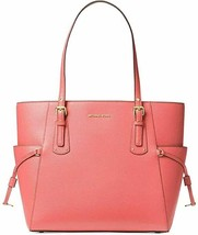 Michael Kors Voyager East West Crossgrain Leather Tote Pink Grapefruit - $199.00