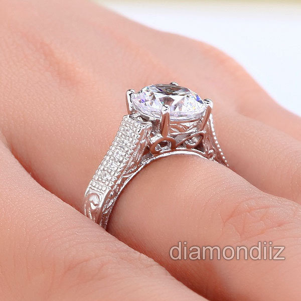 2 Carat Round Diamond Vintage Sterling 925 Silver Bridal Wedding Engagement Ring