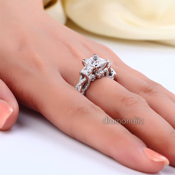 1.5 Ct Man Made Diamond Engagement Ring Vintage Sterling 925 Silver Wedding