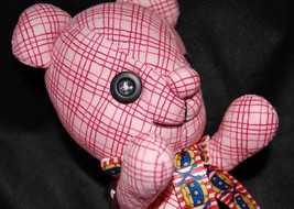 "7""H Handmade Pink Checkers Patchworks Plush Bea... - $15.99"