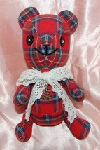 """7""""H Handmade Red Checkers Patchworks Plush Bear... - $15.99"""