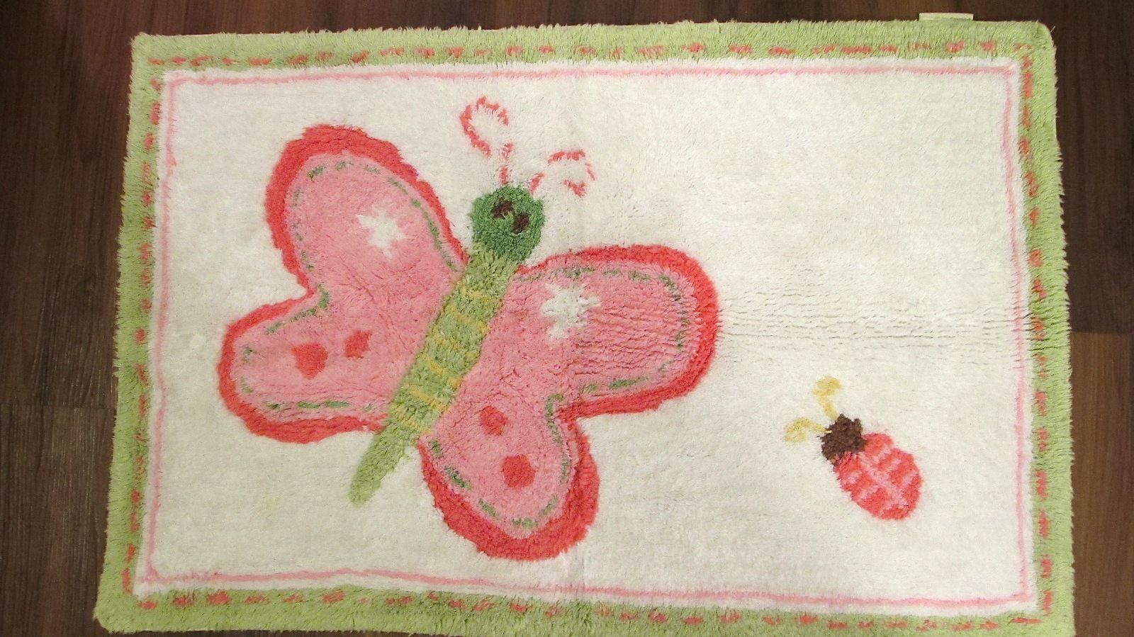 "Pottery Barn Kids Butterfly Rug Bath Mat, Pink & Green Pastel, 34"" x 22.25"""